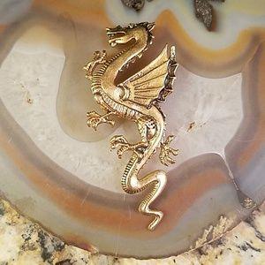 "3"" long Dragon antique golden brooch GUC"